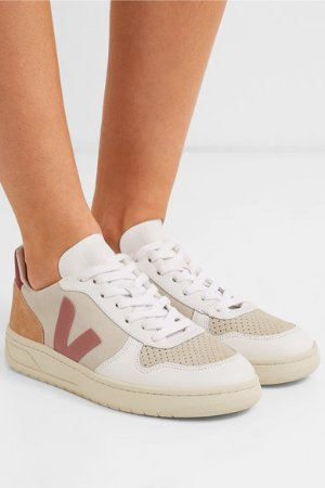 Veja | + NET SUSTAIN V-10 mesh, suede and leather sneakers | NET-A-PORTER.COM