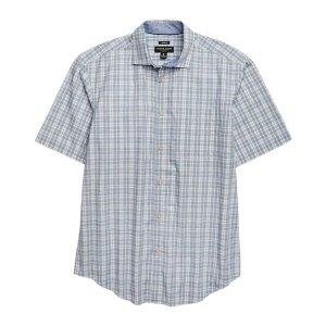 Pronto Uomo Blue Plaid Short Sleeve Sport Shirt - Men's Shirts | Men's Wearhouse