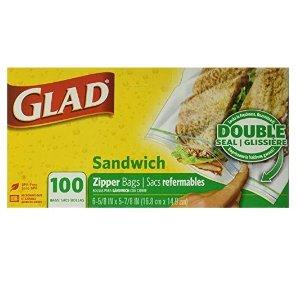 仅$3.33  $0.033/个Glad Zipper 三明治便携式保鲜袋100个  日用囤货