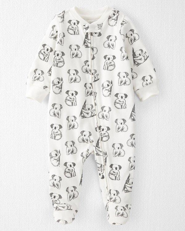婴儿有机棉双向拉链连体衣