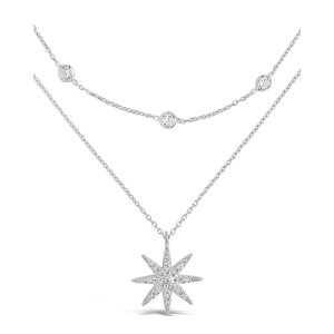 Sterling Silver Layered Burst Pendant NecklaceSilver
