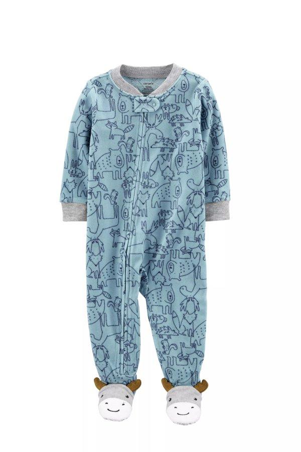 婴儿驯鹿球抓绒包脚连体衣