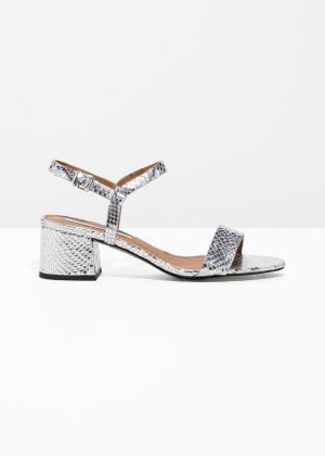 Strappy Heeled Sandals - Silver - Sandalettes & Clogs - & Other Stories US