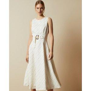 Ted Baker白色收腰连衣裙
