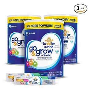 $48.15Go & Grow by Similac Milk Based Toddler Drink, (Pack Of 3) 36oz cans + 2 On-The-Go Stickpacks @ Amazon