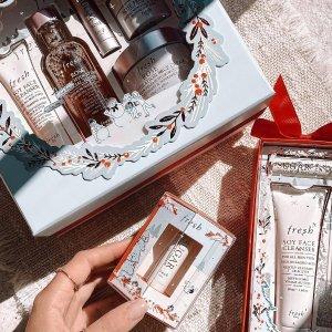 超值套装 $18收润唇膏2只装上新:Fresh 圣诞限定版套装热卖 收明星护肤套装、润唇膏