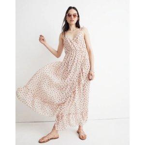 Ruffle-Strap Wrap Dress in Inkspot Dots