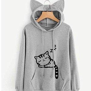 GloGlow 可爱猫咪女士卫衣 萌萌的猫耳太可爱了吧