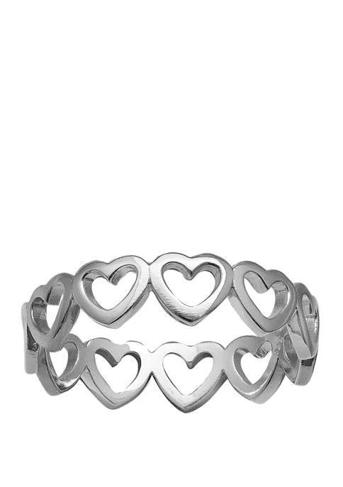 纯银爱心戒指