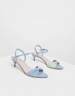 Light Blue Twist Detail Kitten Heels | CHARLES & KEITH US