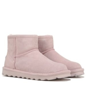 BearPaw粉色低帮防水雪地靴