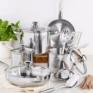 Tools of the Trade 13-Pc. Cookware Sets in Stainless Steel or Nonstick