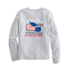 Vineyard VinesGirls Long-Sleeve Graduation Whale 2019 Pocket Tee