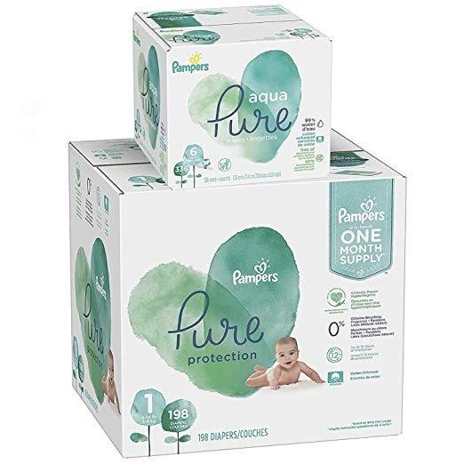 Pure Protection 1 号尿不湿 198 片+ Aqua Pure 宝宝湿巾 336 片