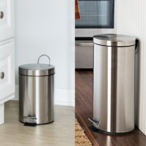 Honey Can Do 30L and 3L Stainless Steel Step Trash Can Combo