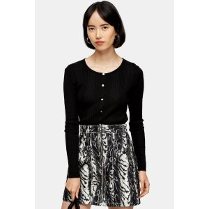 TopshopMock Placket Knitted Top