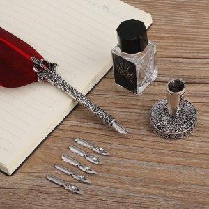 $7.49(原价$20.89)Serounder 蘸水羽毛笔礼盒 5种替换笔尖 写出复古花体字