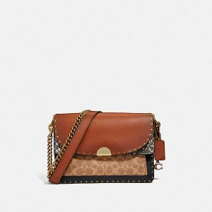 CoachDreamer Shoulder Bag in Signature Canvas With Snakeskin Detail