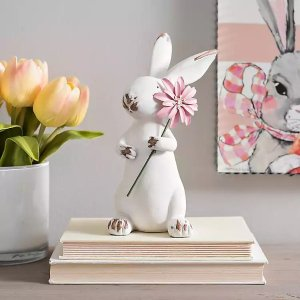White Easter Bunny with Pink Flower