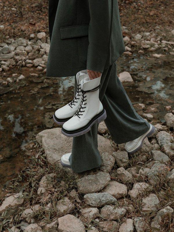 水晶底鞋带短靴