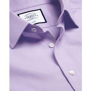 Charles TyrwhittNon-Iron Mini Herringbone Shirt - Lilac