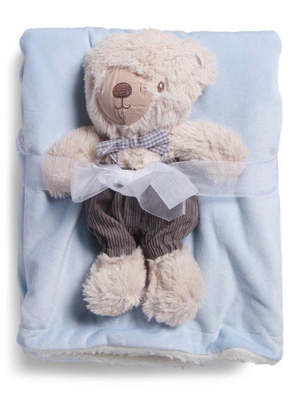 婴儿毯+泰迪熊套装