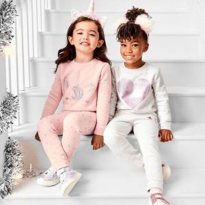 低至3折 格纹套装$6The Children's Place 家居服大促 粉色豹纹款$10 宅家穿搭