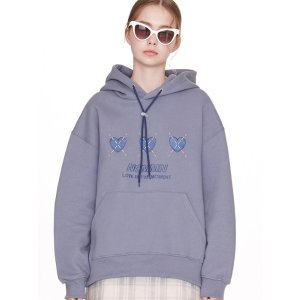 NOYCOMMONNcmmn Heart Hoodie Grey Blue