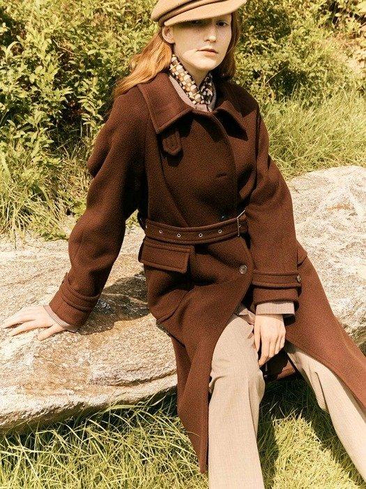 勃艮第色束腰羊毛大衣