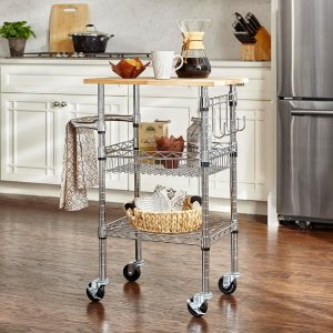 StyleWell Gatefield Chrome Large Kitchen Cart with Rubber Wood Top