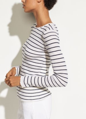 Stripe Ribbed Cashmere Crew for Women   Vince