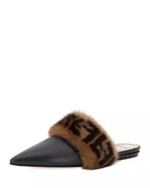 Fendi Leather Flat Mule with FF Fur Trim
