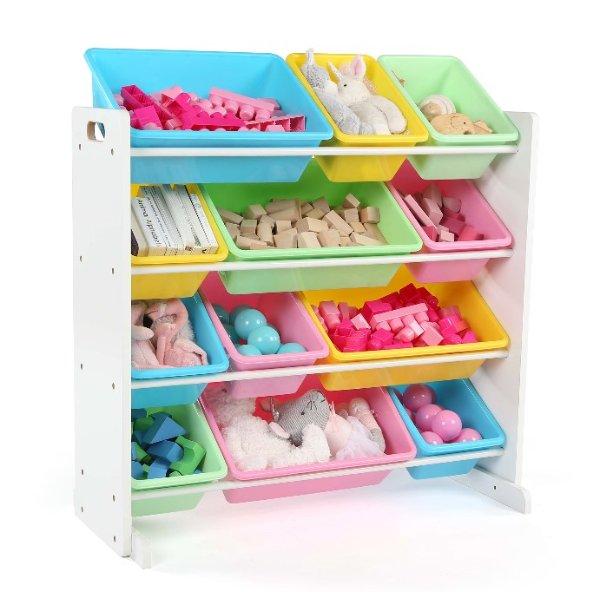 玩具收纳架,带12个收纳盒