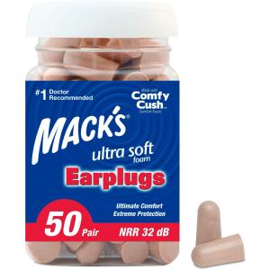 $5.24Mack's Ultra Soft Foam Earplugs, - 32dB Highest NRR 50 Pair