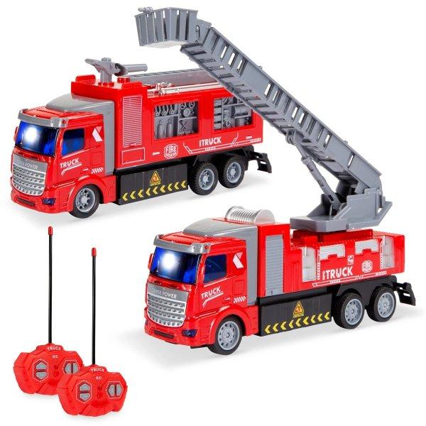 遥控消防车2辆,LED灯可发光