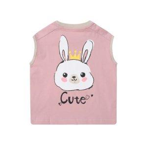 背后小兔图案 无袖T恤