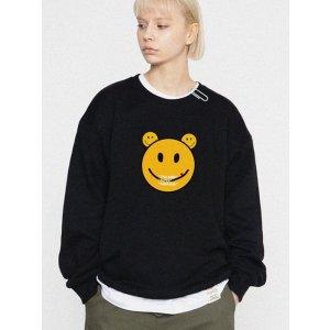 GRAVERBig Bear Smile White Clip Sweatshirt