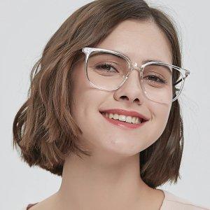 方形透明框眼镜