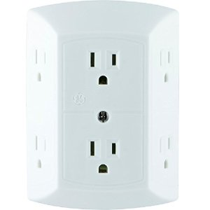 $5.53 GE 6 Outlet Wall Plug Adapter Power Strip, Extra Wide Spaced Outlets for Cell Phone Charger