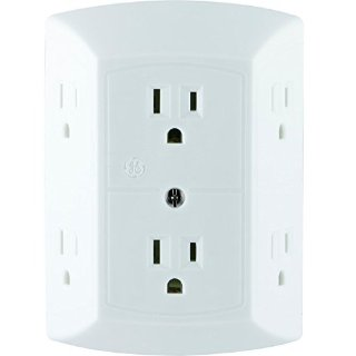 $5.53GE 6 Outlet Wall Plug Adapter Power Strip, Extra Wide Spaced Outlets for Cell Phone Charger