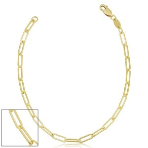 SuperJeweler2.5mm Paperclip Chain Bracelet, 7 1/2 Inches, Yellow Gold