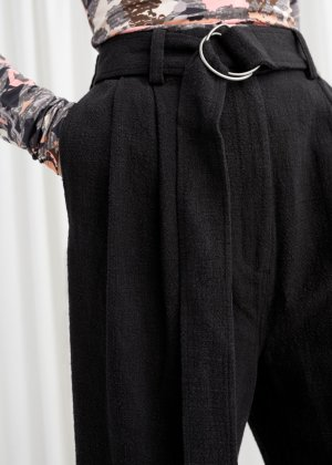 Belted Tapered Pants - Black - Trousers - & Other Stories