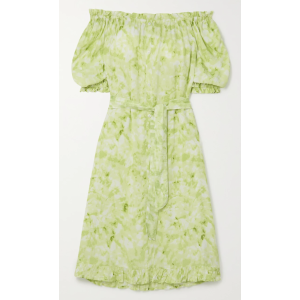 Faithfull The BrandSaint Jean off-the-shoulder ruffled tie-dyed crepe nightdress