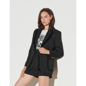 SandroTailored jacket with velvet trim