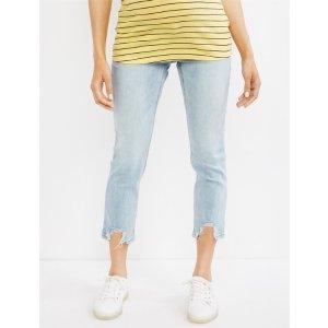 INDIGO BLUESide Panel Skinny Leg Destructed Hem Maternity Crop JeansShop Maternity Fashion & Basics Online