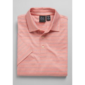 Traveler Collection Traditional Fit Short Sleeve Square Stripe Polo