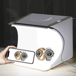 仅售€17.99便携迷你灯箱 拍照晒货必备 可调6个背景布 在家也能拍大片
