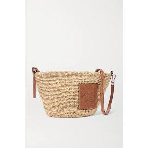 Loewe+ Paula's Ibiza Pochette leather-trimmed woven raffia shoulder bag