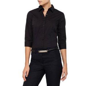 任意4件仅$100女士97%棉长袖衬衣 黑白可选