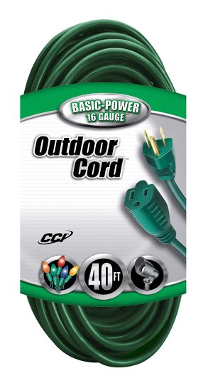 $12Coleman Cable 2356 16/3 Vinyl Landscape Outdoor Extension Cord, Green, 40 Foot